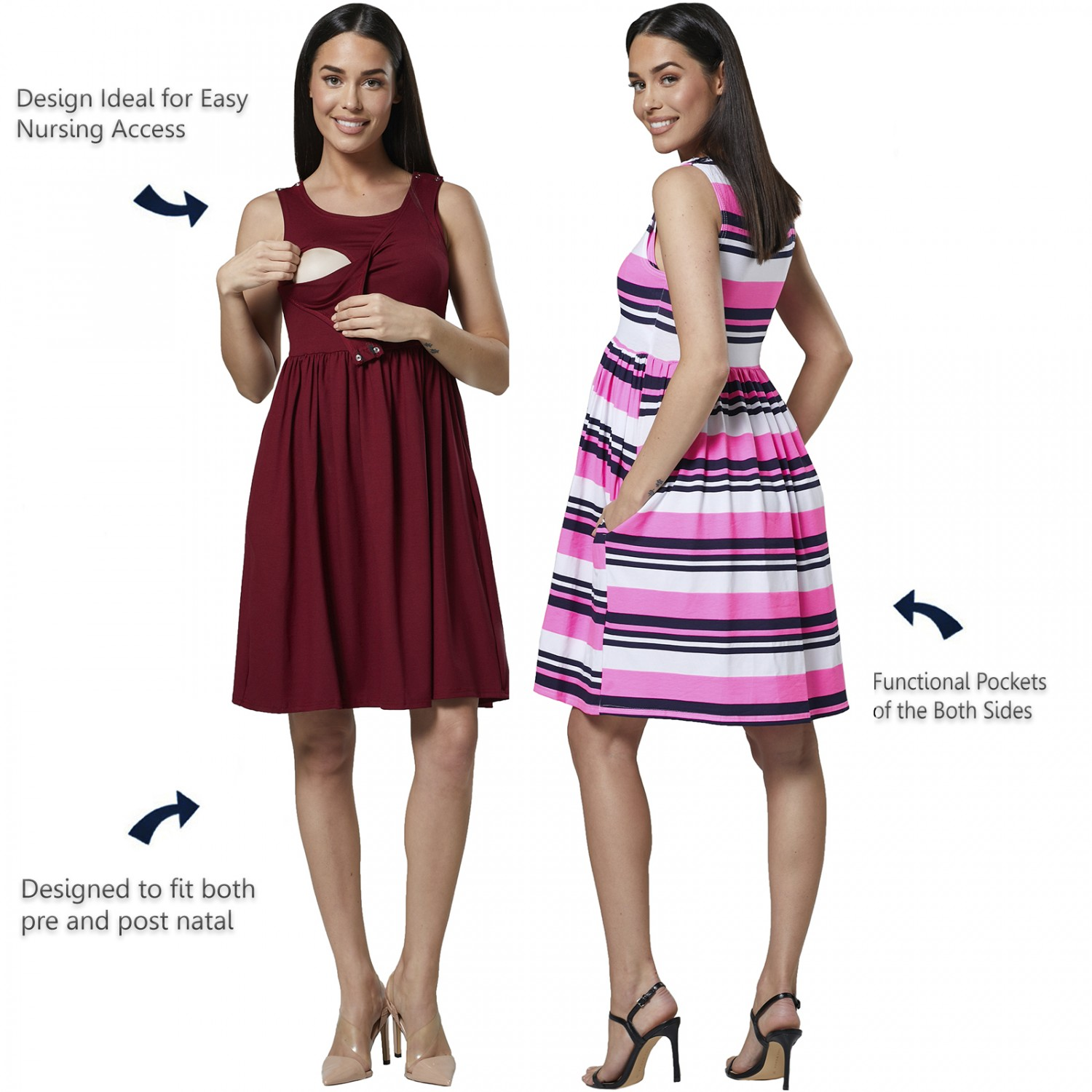 HAPPY-MAMA-Women-039-s-Maternity-Nursing-Pleated-Cocktail-Print-Dress-Sleeveless-103 thumbnail 10