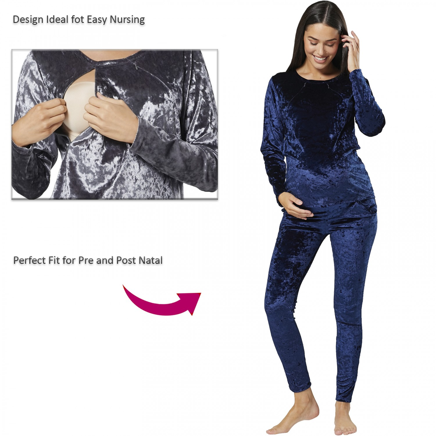 Petite 1125 HAPPY MAMA Womens Lounge Velvet Maternity /& Nursing Pyjamas Set