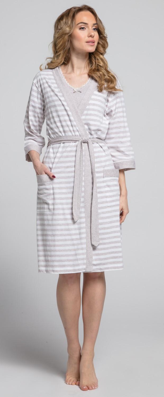 Zeta-Ville-Women-039-s-maternity-breastfeeding-stripes-set-robe-nightdress-190c thumbnail 15