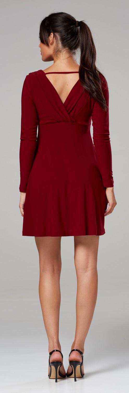 Chelsea-Clark-Women-039-s-Empire-Waist-Mini-Dress-Long-Sleeves-Front-Wrap-594z