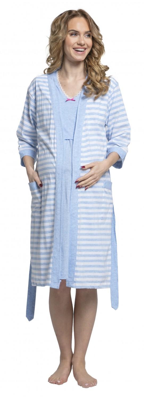 Zeta-Ville-Women-039-s-maternity-breastfeeding-stripes-set-robe-nightdress-190c thumbnail 25