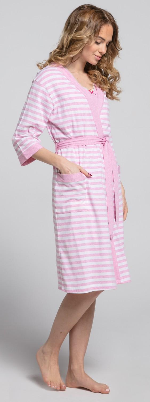 Zeta-Ville-Women-039-s-maternity-breastfeeding-stripes-set-robe-nightdress-190c thumbnail 19
