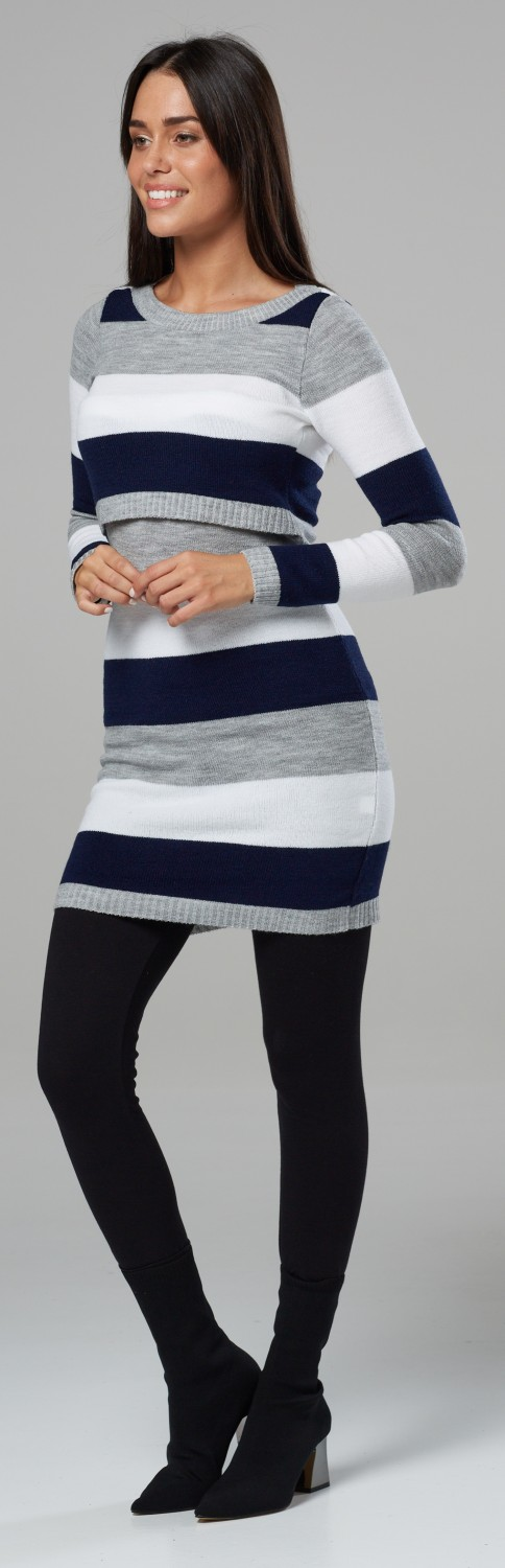 Zeta Ville Womens Maternity Nursing Knitted Tunic Crew Neck Cut Out 453