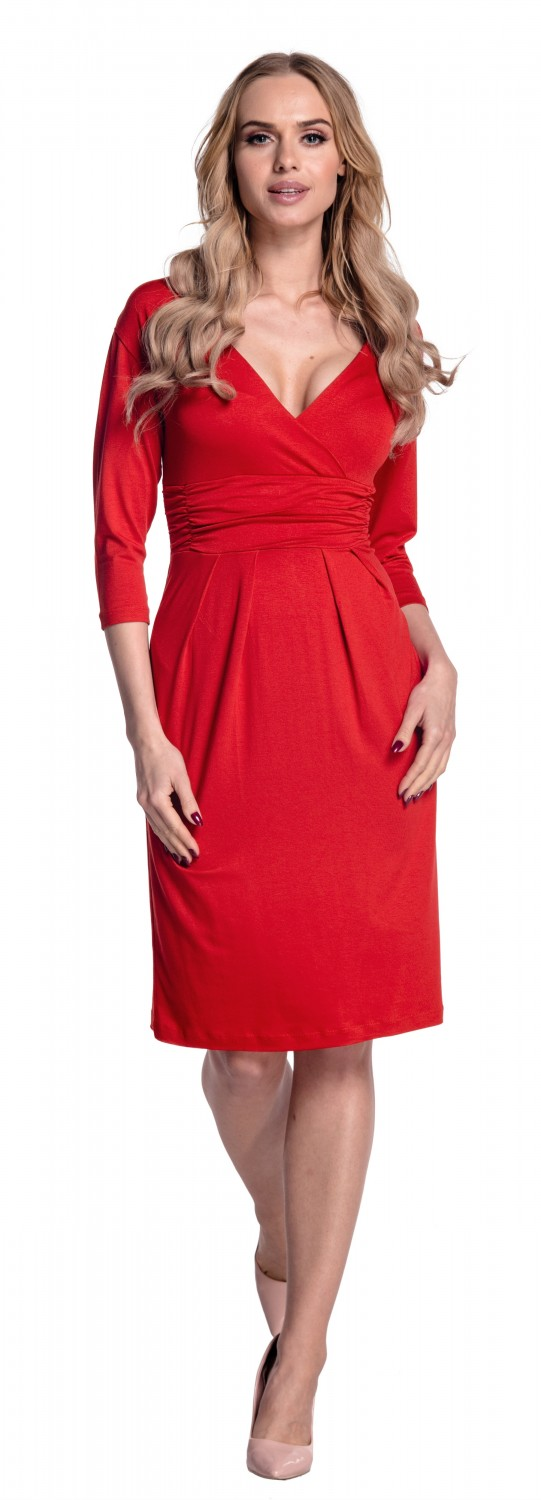 Glamour-Empire-Women-039-s-Wrap-V-Neckline-Jersey-Pencil-Dress-with-Pleats-001