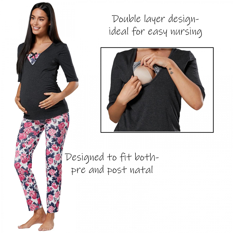 b8f620ba0fe6e Zeta Ville.Women's Maternity Nursing Breastfeeding Pyjamas Set V ...