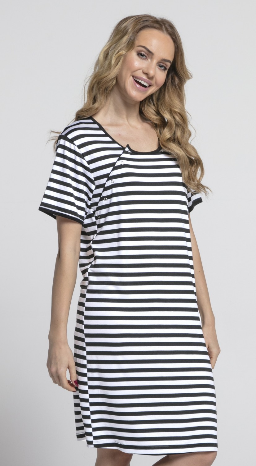 Happy Mama. Womens Maternity Hospital Gown Nightie Stripes Labour ...