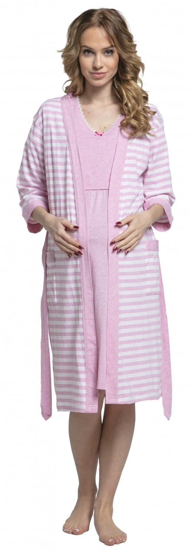 Zeta-Ville-Women-039-s-maternity-breastfeeding-stripes-set-robe-nightdress-190c thumbnail 18