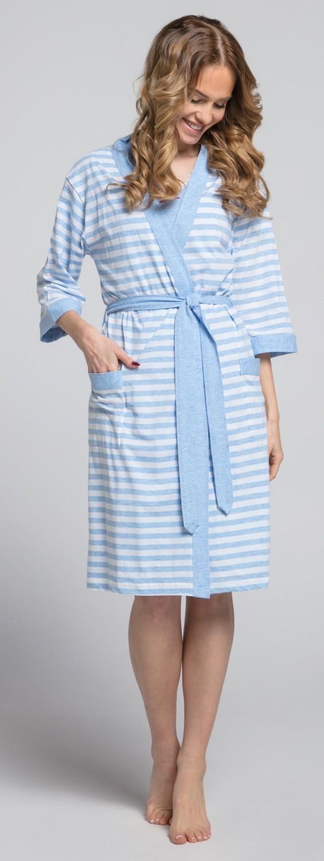 Zeta-Ville-Women-039-s-maternity-breastfeeding-stripes-set-robe-nightdress-190c thumbnail 29