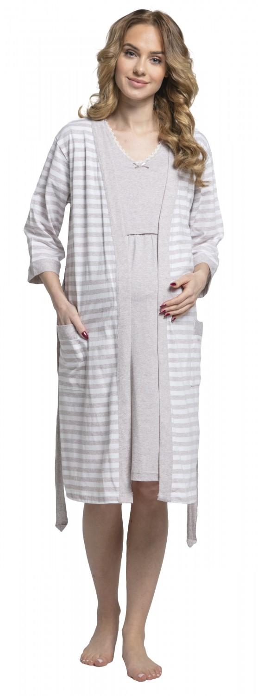 Zeta-Ville-Women-039-s-maternity-breastfeeding-stripes-set-robe-nightdress-190c thumbnail 11