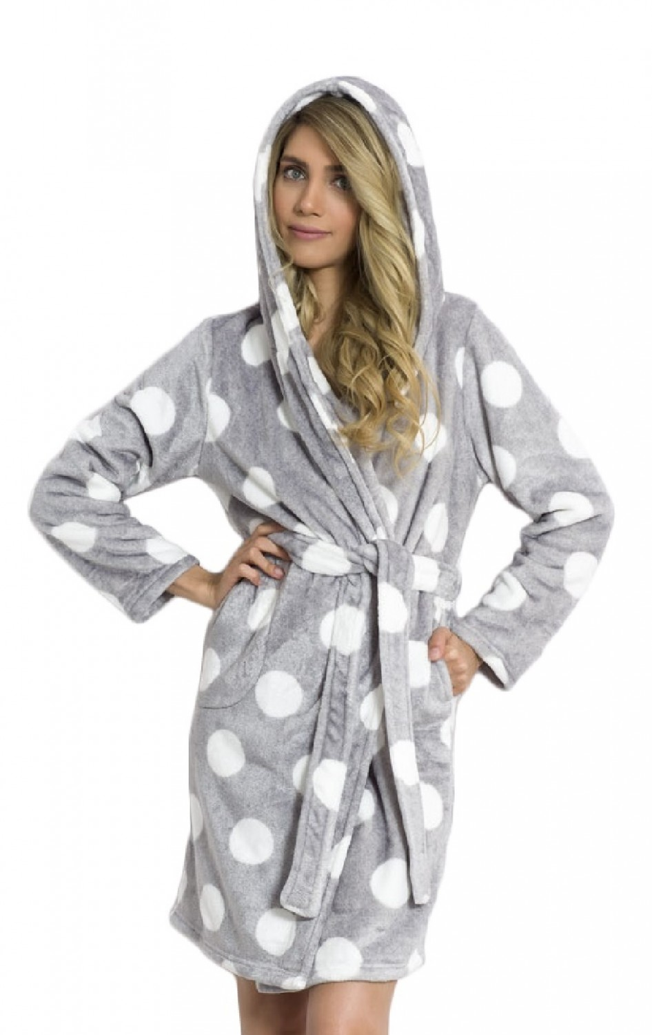 Glamour Empire. Women s Robe Patterned Fluffy Dressing-Gown Hooded ... 77ab2df84