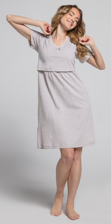 Zeta-Ville-Women-039-s-maternity-breastfeeding-stripes-set-robe-nightdress-190c thumbnail 14