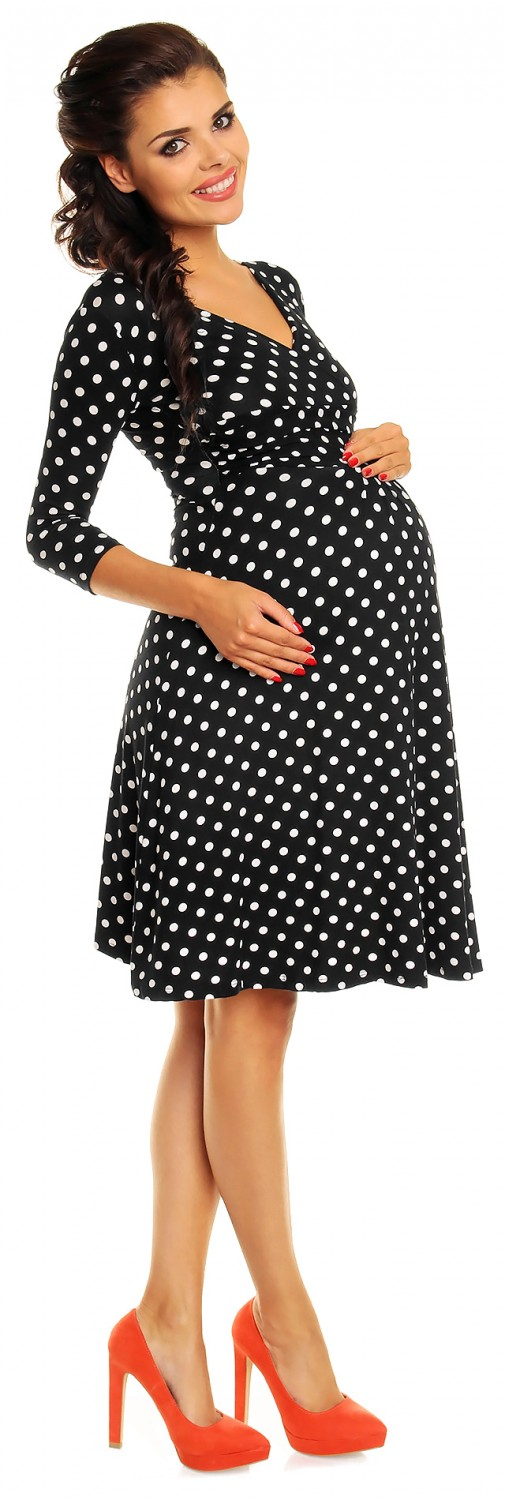 0cea55187f1 Zeta Ville Women s Maternity Wrap V-neck Polka Dot Dress Summer Spot ...